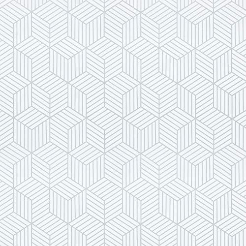 Timeet Papel Adhesivo para Muebles, Diseño de Geometría de Color Plateado y Blanco, con Rayas Plateadas, Papel Pintado Autoadhesivo, Vinilo Decorativo para Pared,Estanterías,Cajones, 45cm x 3m