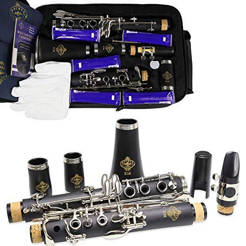 ROCHIX Klarinette Anfänger Schülerstufe E16 B Flaches ABS vernickelt 17 Tasten Bb-Ton mit 2 Fässern, Etui, 5 Blättern, Mundstück und mehr
