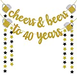 40th Birthday Decorations for Men / Women - 40th Birthday Gifts - Cheers & Beers to 40 Years Gold Glitter Banner - 40th Anniversary Decorations for Party, 40th Wedding Party Supplies for Couple
