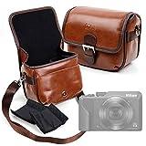 DURAGADGET Bolsa Profesional marrón con Compartimentos para Cámara Nikon Coolpix A1000 Tamaño Mediano.