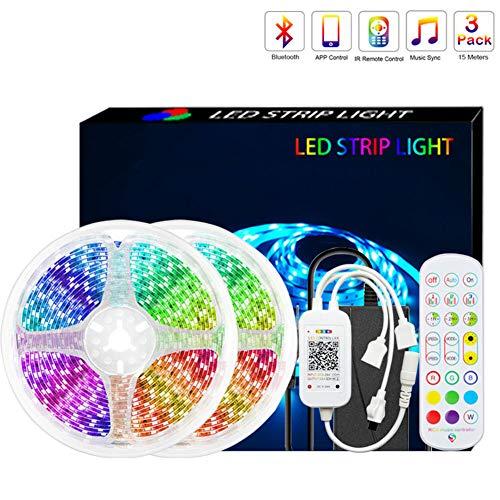 JSBVM Tiras LED 5M/10M 5050 RGB Tiras de Luces LED Iluminación, Adaptador de Alimentación 5A Impermeable IP65, Control Remoto de 24 Claves LED Kit Completo,5m