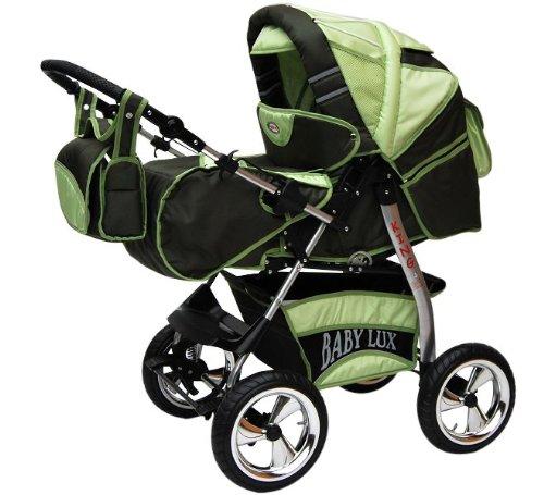 Lux4Kids Koning 2 in 1 Pushchair Combinatie (regenhoes, muggennet met lade voor kinderwagen, matrassen, veranderende pad) 01, Canada Green & Fancy
