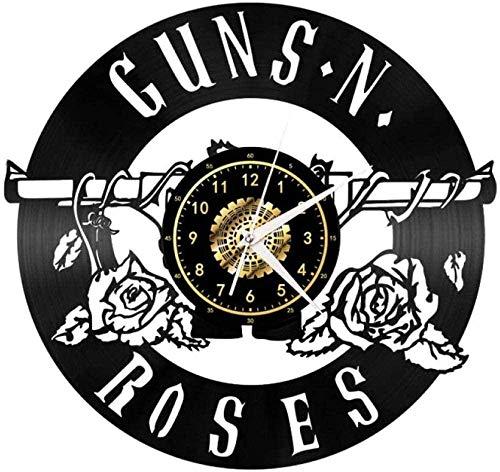 ZZLLL Reloj de Pared de Vinilo 3D Rosa, decoración clásica de CD, Colgante artístico, Reloj de decoración único, Reloj de Pared de Vinilo Colorido de 12 Pulgadas