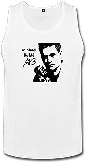 男性 クール 歌手 マイケル ブーブレ ポスター タンク 100%棉 White