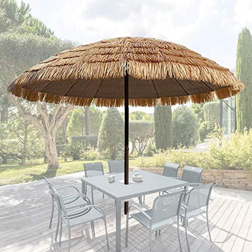 XINGG Sombrilla Redonda De Playa con Techo De Paja, Sombrilla De Jardín Al Aire Libre, Sombrillas De Jardín Portátiles, para La Protección Solar del Patio De La Terraza Al Aire Libre