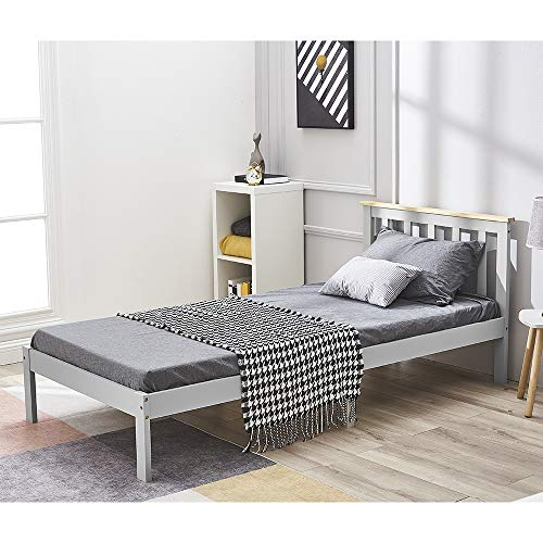 Single bed in Grey, Panana Wooden Bed Frame with headboard, Solid Wood 3ft Bed Frame, 90x190cm (Grey + natural)