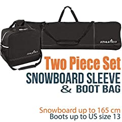 Snowboard sleeve fits most snowboards up to 165 cm Handy carrying handle and detachable shoulder straps make carrying your board a breeze Boot bag fits most snowboards boots up to size 13.