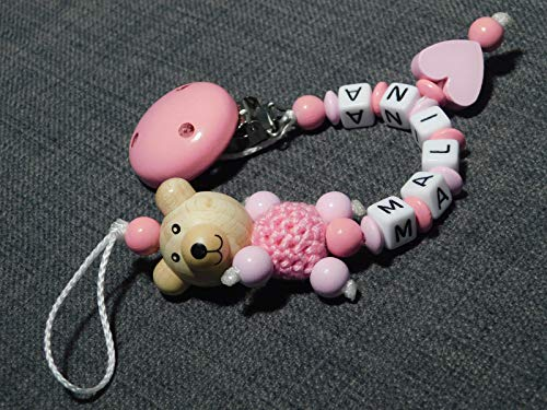 Cadena para chupete con nombre para niñas y niños – varios modelos Cadena para chupete de oso y corazón.