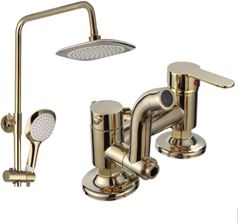 Duschset, Duschkopf für Badezimmer, Duschset für Badezimmer, Duschset aus reinem Kupfer, quadratische Dusche, Booster-Duschkopf zum Anheben,-schwarz2