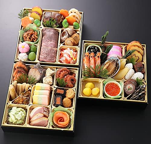 大阪 北新地 平八 2022 予約 おせち料理 三段重 45品 盛り付け済み 冷蔵おせち 3人前 お届け日:12月31日