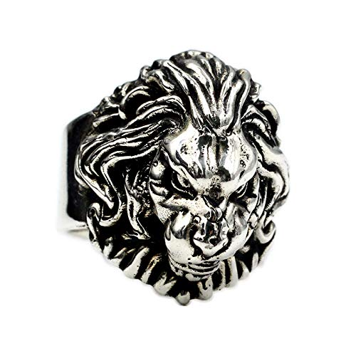LH&BD Cien Batallas Lion Anillo De León 925 Plata Esterlina Tailandesa Plata Mano Hecho A Mano Leo Lion Male Domineering Big Ring,16