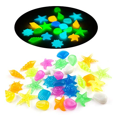 MOMOONNON 100 Pcs Aquarium Decorative Glow in The Dark Pebble Stones with Colorful Starfish, Conch Shell Shape for Garden, Yard, Fish Tank, Fish Bowl, Vase, Handmade Crafts Decoration