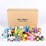 Four Heart Set di 30 adorabili gomme da cancellare a forma di animali, invio casuale, collezionabili, giochi a incastro per bambini, con confezione regalo