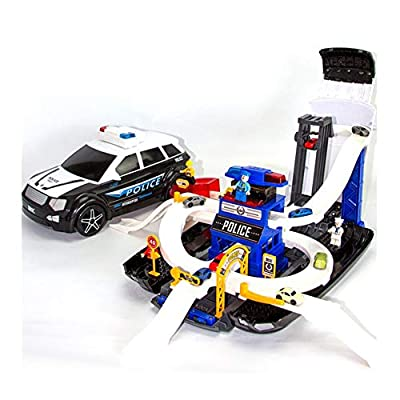 WDXIN Children's Deformation Police Car Parking Lot Model Alloy Car Toy with Music Lights Can Be Inserted Into The Building Blocks Gift for All Children Over 3 Years Old from WDXIN