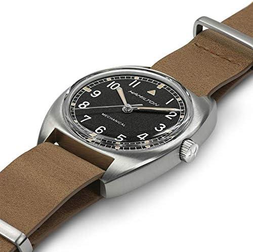 Hamilton H76419531 Khaki Pilot Pioneer Mechanical Black Dial Brown Strap Watch