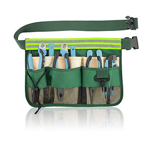Rayong Werkzeuggürtel, Gürteltasche für Gartenutensilien, Gartengerätegürtel, Gartenwerkzeuggürtel mit 7 Fächern für Gartenarbeit (grün)