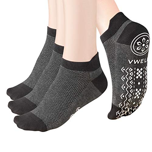 VWELL Non-Slip Yoga Socks Anti-Skid Socks with Grips Ankle Cushioned Fitnes0s Socks, Ballet, Pilates, Dance, Barefoot Workout, home & hospital, Size 5-11