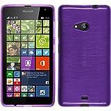 PhoneNatic Hülle kompatibel mit Microsoft Lumia 535 - lila Silikon Hülle Brushed + 2 Schutzfolien