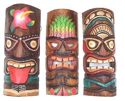 Interlifestyle 3 Tiki Masken 30cm im Maui Hawaii Look Style 3er Set Holzmasken Wandmaske Osterinsel