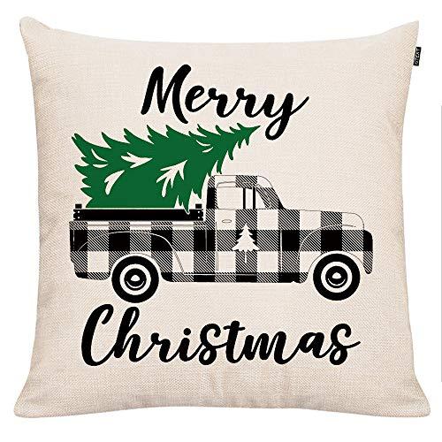GTEXT - Funda de Almohada de Navidad para sofá, decoración del hogar, cojín de Lino de 45,7 x 45,7 cm