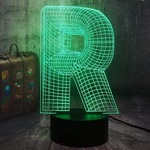 Creativity Night Light Letter R 3D Optical Illusion Lampe 16 Colors Changing Touch Lamp with Remote Control with USB Power Cable Bedside Lamps Gifts for Kids