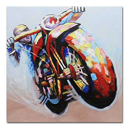 Muzagroo Art Riding Motorcycle Oil Painting Cool Speed Sport Picture Wall Art for Living Room Hand Painted Canvas Art Stretched Ready to Hang (24x24in)