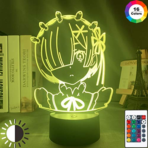 Anime Rem Re Zero Figura Baby Manga Night Light 3D LED Lámpara de mesa niños regalo de cumpleaños decoración de la habitación junto a la cama
