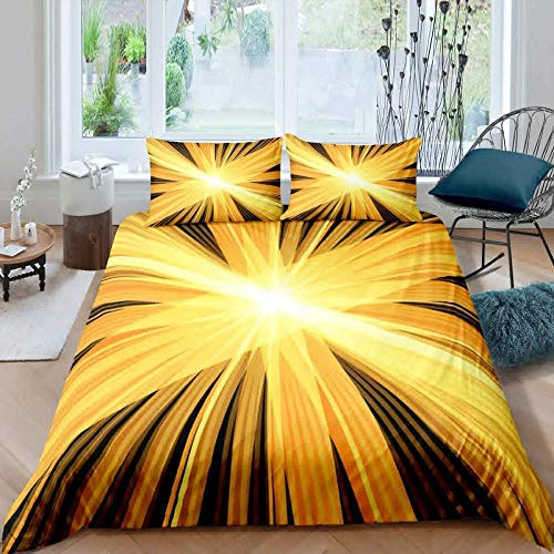 Hqooaceo 3 Pieces Kids Duvet Set With- Bedding 3D Printed Abstract Daylight Geometric Stripes Super King (260 X 230 Cm) -Soft Easy Care Anti-Allergic Bedding Set Gift For Teens Girls