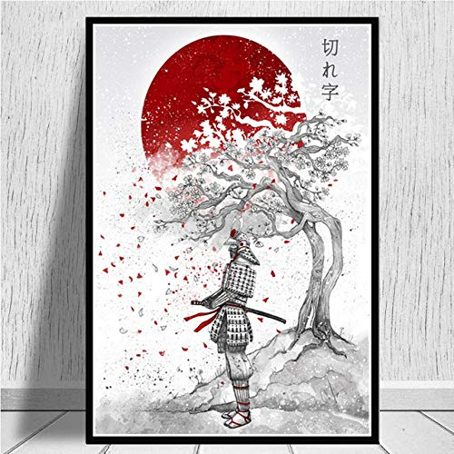 Cuadro En Lienzo,Estación Samurai Cerezo Japonés Ukiyo-E Non-Woven Carteles Murales Arte Abstracto,Imagen 3D Pared Vertical Pintar Ilustraciones Dormitorio Decoraciones Home Office,70Cm*100Cm Sin C