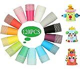 Liuer Vasos de Papel Desechables Tazas de Fiesta, 120PCS Vasos Carton de Colores...