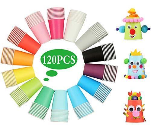 Liuer Vasos de Papel Desechables Tazas de Fiesta, 120PCS Vasos Carton de Colores Biodegradables 9 Ounces para Servir el Café el Té Agua Zumo Bebidas Calientes y Frías Bodas Bricolaje (14 Colores)