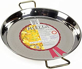 La Ideal Paella sartén de Acero Inoxidable, Plata, 38 cm, Pack de 4