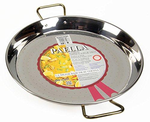 La Ideal Paella-pan, roestvrij staal, zilver, 38 cm