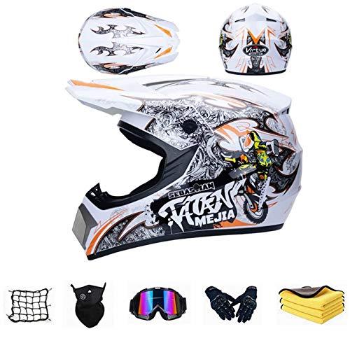 FREHOM Casco motocross bambino, Certificato D.O.T MTB casco da cross, Casco enduro professionale con Occhiali Maschera Guanti, Casco integrale Per Bambini Quad Bike ATV Go-kart. (M)