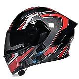 Casco Bluetooth para motocicleta, con Bluetooth, con visera doble antivaho, para hombres y mujeres, aprobado por ECE/DOT (color: G)