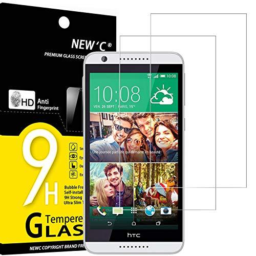 NEW'C 2 Unidades, Protector de Pantalla para HTC Desire 820, Antiarañazos, Antihuellas, Sin Burbujas, Dureza 9H, 0.33 mm Ultra Transparente, Vidrio Templado Ultra Resistente