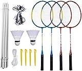 Badminton Set, Portable Outdoor Badminton Combo Set Badminton Net System, Fun Lawn or