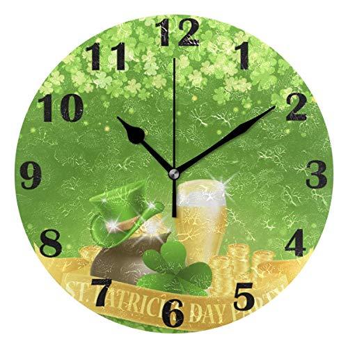 Reloj de Pared Moderno,Monedas de cerveza del trébol del sombrero del día de San Patricio,Grandes Decorativos Silencioso Reloj de Cuarzo de Redondo No-Ticking para Sala de Estar,25cm diámetro