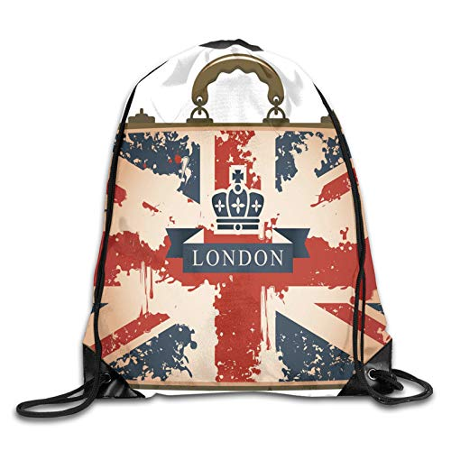 Drawstring Gym Bag Backpack,Vintage Travel Suitcase With British Flag London Ribbon And Crown Image,Rucksack for School Sports Travel Women Children Birthday Present