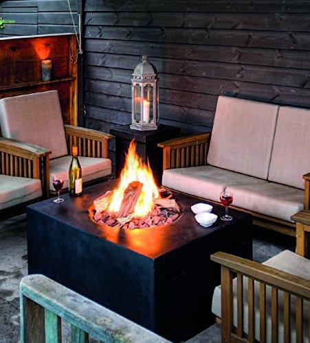 Mania Cocoon Feuertisch Gaskamin Feuerstelle quadratisch klein, schwarz Länge 60 cm
