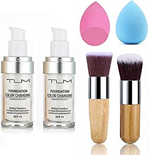 2pcs TLM Color Changing Foundation Liquid with 2 Brushes and 2 Cosmetics Sponge Flawless Full Coverage Natural Color Face ...