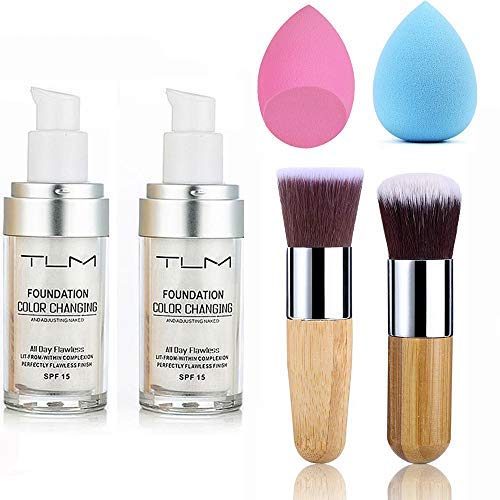 2pcs TLM Color Changing Foundation Liquid with 2 Brushes and 2 Cosmetics Sponge Flawless Full Coverage Natural Color Face Primer Base Makeup 30ml