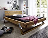 Main Möbel Balkenbett Bett Doppelbett Ehebett Massivholz 180x200cm Fichte eichefarbig gebeizt Holz massiv