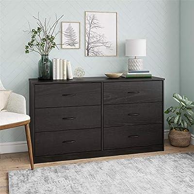 Mainstay Drawer Dresser, (6-Drawer, Nightfall Oak) (A Black Oak, 6-Drawer)