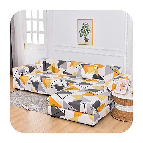 Funda elástica para sofá de esquina, elástica, para sala de estar, 1/2/3/4, en forma de L, 2 piezas, color 7-2 plazas y 3 plazas