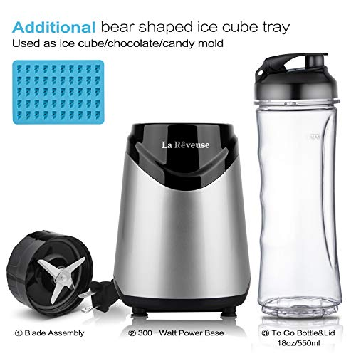 La Reveuse Smoothies Blender Personal Size 300 Watts with 18 oz BPA Free Portable Travel Sports Bottle (Silver-1802)