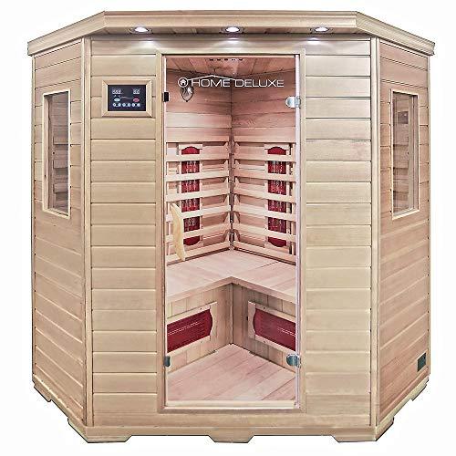 Home Deluxe – Infrarotkabine Redsun XXL – Keramikstrahler, Holz: Hemlocktanne, Maße: 150 x 150 x 190 cm | Infrarotsauna für 3-4 Personen, Sauna, Infrarot, Kabine