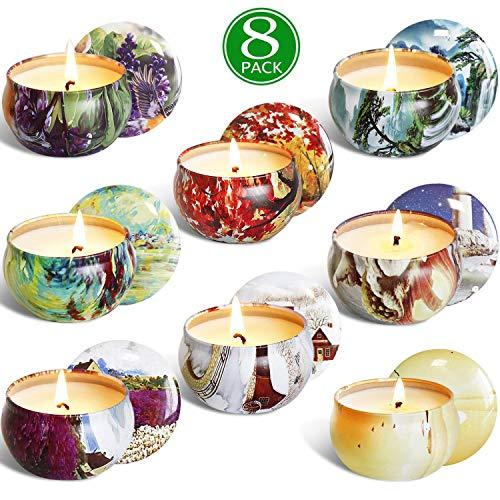 YIIA Scented Candles Gift Set -Lemon, Lavender, Mediterranean Fig,Bergamot,Vanilla,Jasmine,Rose and...