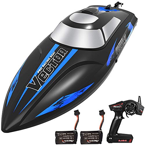 YEZI Remote Control Boat for Pools & Lakes,Udi001 Venom Fast RC Boat for Kids & Adults,Self Righting Remote Controlled Boat W/Extra Battery (Dark Blue)