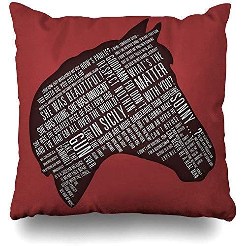asdew987 Fundas de almohada, diseño de cabeza de caballos de padrino con cita de impresión suave y cómoda.